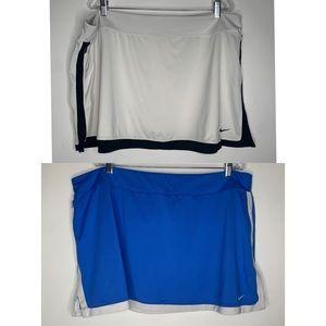 Nike Womens 2X Dri-Fit Tennis Skirt White Blue